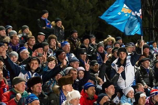 People on the stadium in Irkutsk