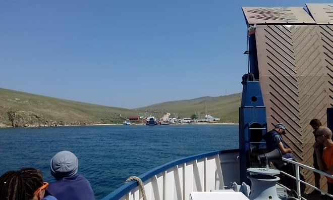 Ferry to Olkhon Island.